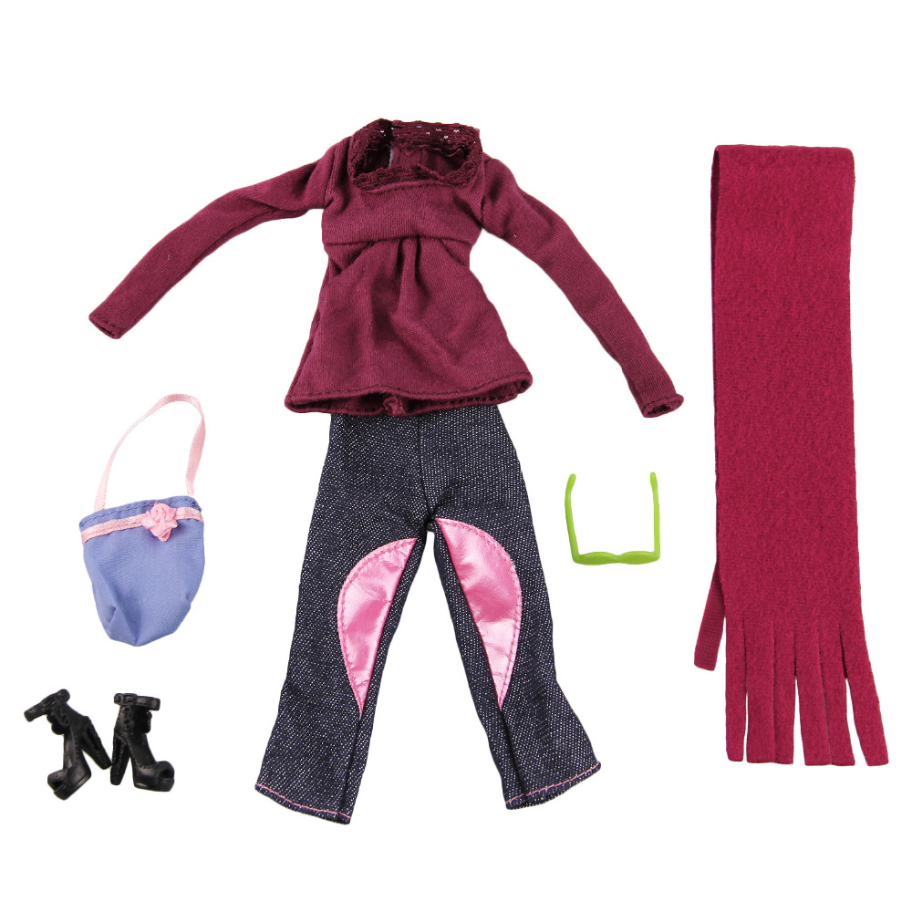 6 PCS Doll Winter Sweater Pants Sunglasses Shoes Bag Scarf Outfits Clothes Accessories for 11.5 inch Height Barbie Dolls Toy