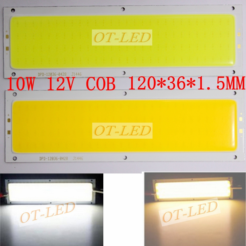 Big Promotion High Power 10W COB LED Strip Lamp Lights Bulb 1000LM Warm White Pure White For DIY 120x36MM 12-24V