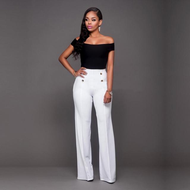 3e614d3cb8 High Waist Flare Pants Plus Size Women Trousers Female Office Lady Casual  Wide Leg Pants Stretch Long Pant