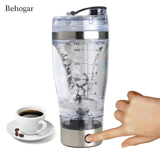 Behogar 450ml Outdoor Travel Portable Battery-Powered Electric Protein Shaker