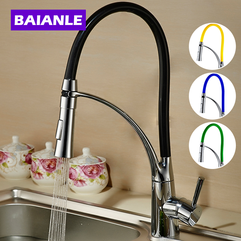 BAIANLE Single Handle Pull Down Kitchen Faucet Black And Chrome Finish Dual Sprayer Nozzle Cold hot