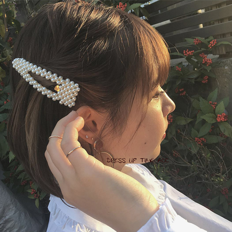 AOMU New Luxury Graceful Rhinestone Faux Pearls Hairclip Hair Accessories  For Women Charm Hairpin Barrettes Hairwear Headdress-in Hair Jewelry from  Jewelry ... 36bbb3619ebf