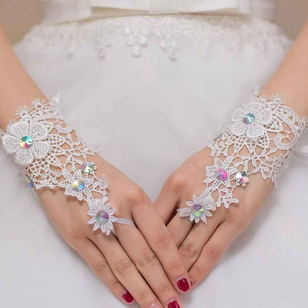 1 pair Popular White Lace Gloves with Crystals Rhinestone Wrist Dress Glove Hook Finger W Accessories