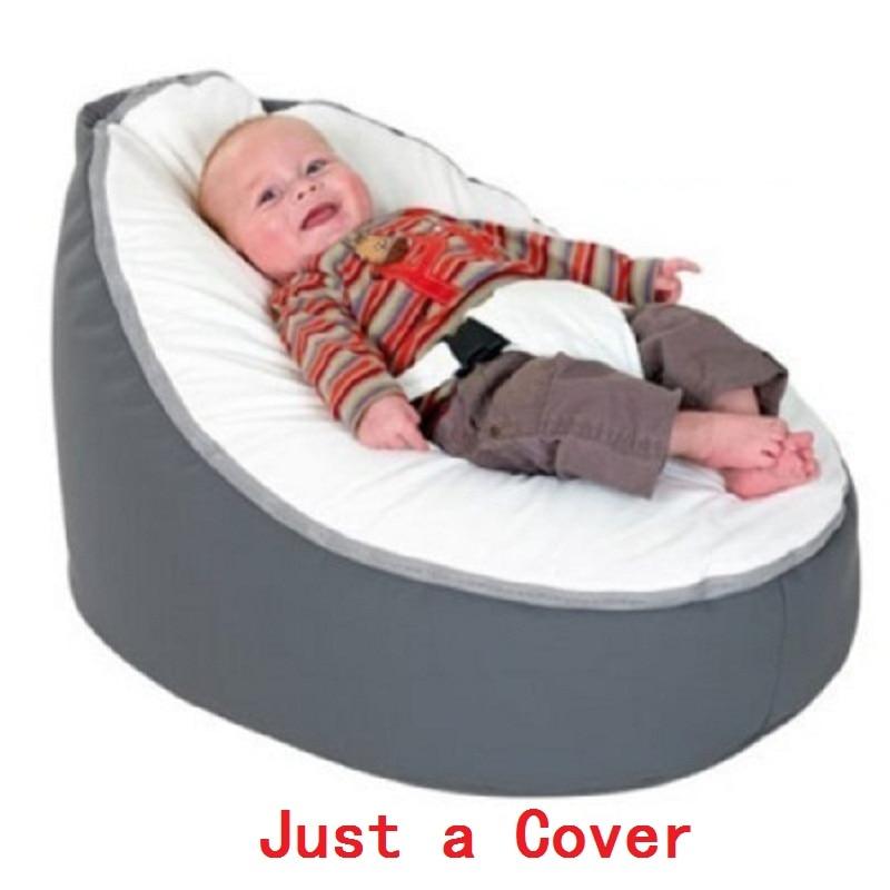 Apenas uma Capa! Dropshipping 2018 Cadeira de Bebé Pufe para a Alimentação Do Bebê Saco de Feijão Cama Portátil Infantil com Cinto para a Proteção da Segurança