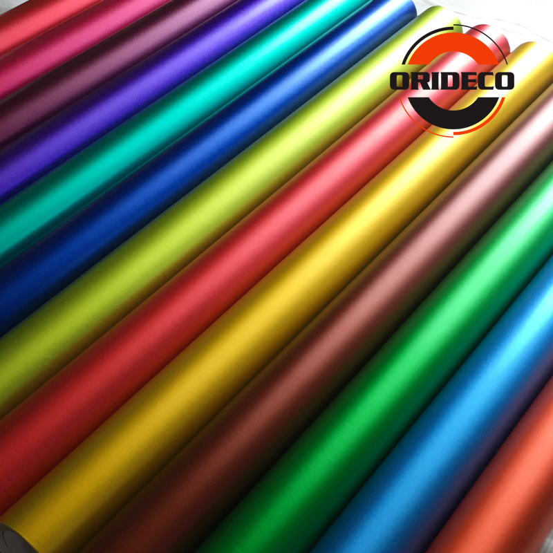 50CM Width Multi Colors Matte Metallic Car Vinyl Wrap Red Blue Silver Satin Film With Air Channels Metallic Car Film Decoration-in Car Stickers from Automobiles & Motorcycles