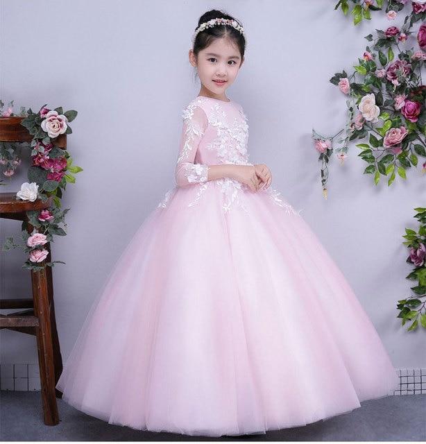 Jolie rose dentelle fleur fille robes pour le mariage robe for Robes maxi design pour les mariages