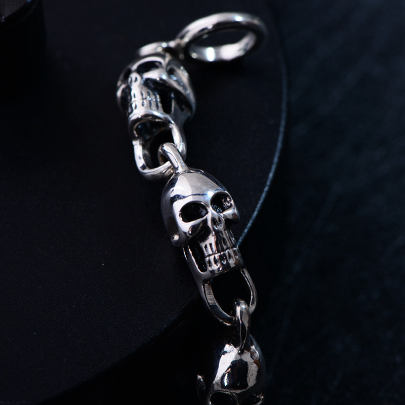 Pulsera de plata tailandesa para hombre con calavera de Plata de Ley 925 pulseras de esqueleto fresco joyería de moda 2019 regalo Punk para hombres envío gratis - 2