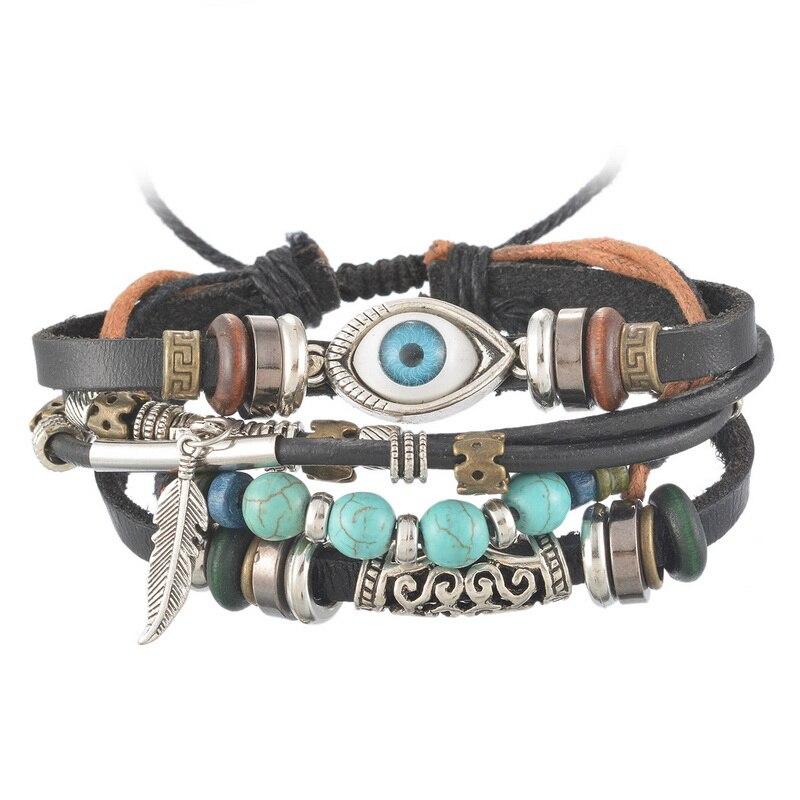 Fashion Punk Turkish Vintage Bracelet For Men Multilayer Leather Bracelet Beads Feather Charm Wrap Bracelets Men Jewelry