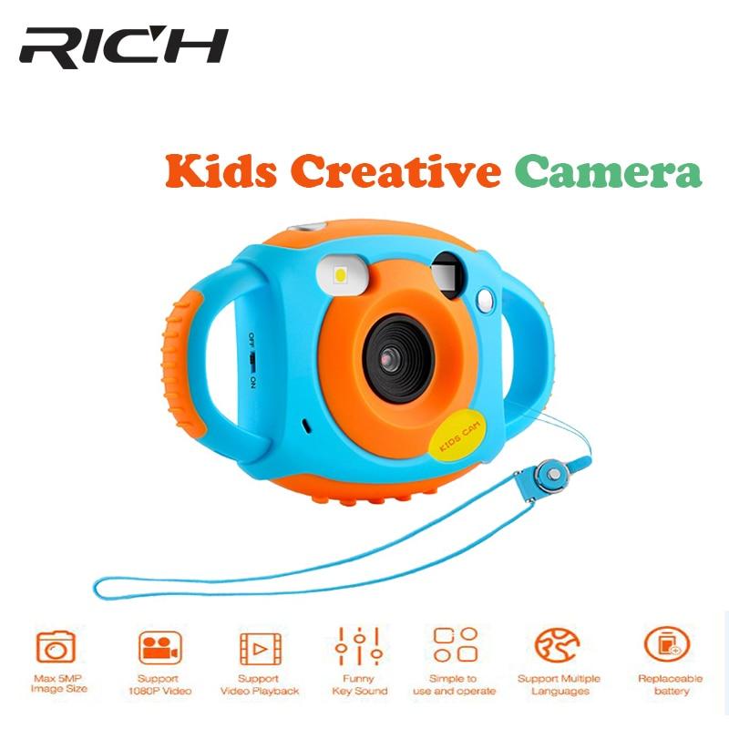 REICHE Mini Digital Kinder Kameras 5MP HD Projektion foto Digitale Tragbare kamera Nette Neck Kind Fotografie Video Kamera Kid Gifi