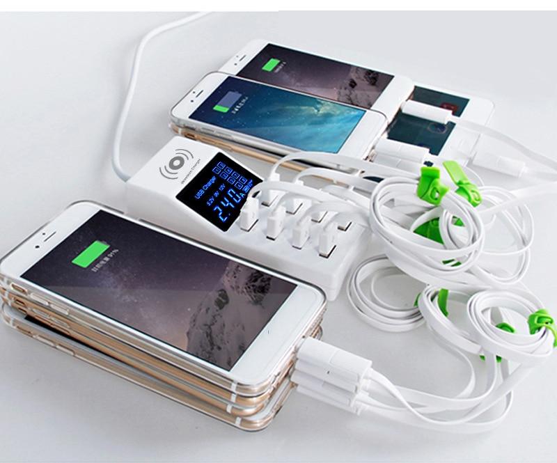 Thbelieve 8 USB Draadloze Opladen EU UK US Plug 1.5 meter Kabel HUB Draadloze Opladen Pad Voor Smartphone 5 v met Retail Pakket - 5