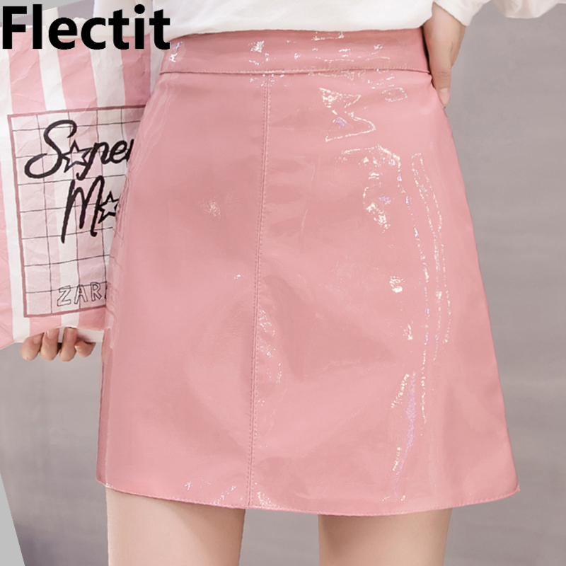 Flectit Black Pink Wet Look Faux Leather Skirt Women High Waist A-Line Mini Latex Skirt Festival Party Club Vinyl Skirt image