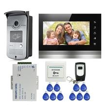 """ENVÍO de la NUEVA 7 """"Botón táctil Sistema de Videoportero De Intercomunicación 1 Monitor + Cámara timbre de la Puerta Lector de RFID A Prueba de agua + Remote"""