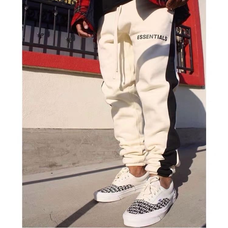 QoolXCWear  Kanye West Trousers Justin Bieber Sweatpants Side Stripe Jogger Pants Elastic Waist Hip Hop Pants Streetwear