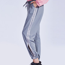New Womens Pants Sweatpants Women Hiphop Harem Pants Loose Leisure Trousers For Women Side Striped Elastic Cuff Female Sportwear button and striped side sweatpants