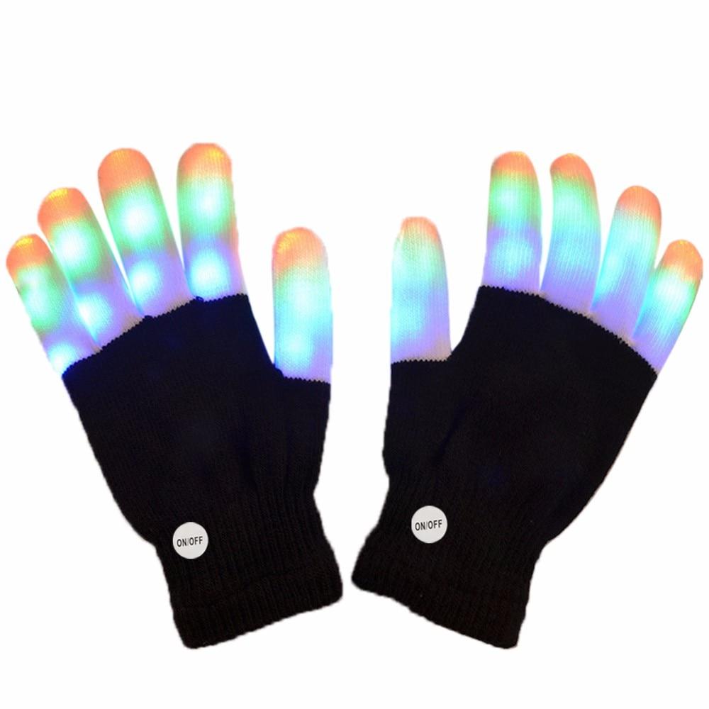 Black light gloves - Magic Black Led Gloves Party Decorations Light Novelty 6 Finger Lighting Flashing Glow Mittens Gloves Event