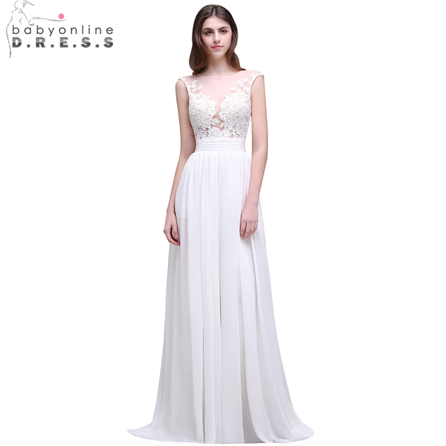 19ba15c7e72ad Romantic Summer Boho Lace Beach Wedding Dresses 2019 Sheer Neck Chiffon Wedding  Gowns Side Slit Bridal Dress Vestido de Noiva