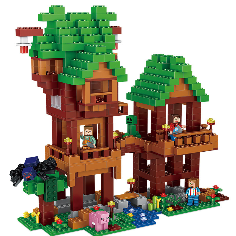 584pcs Children s building blocks toy Compatible city minecrafted World tree tower figures Bricks birthday gift