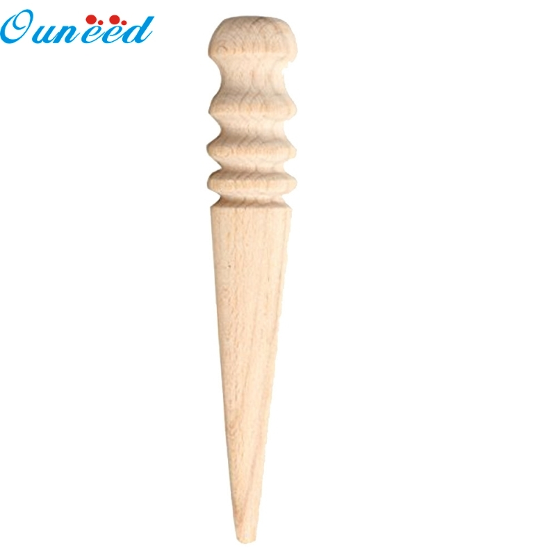 Ouneed Happy Home 1PC Leathercraft Tool Leather Edge Slicker Round Wood Multi-Size Leather Burnisher
