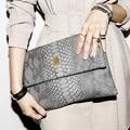 cowhide serpentine day clutch fashion brief women's messenger bag envelope bag genuine leather womens handbag