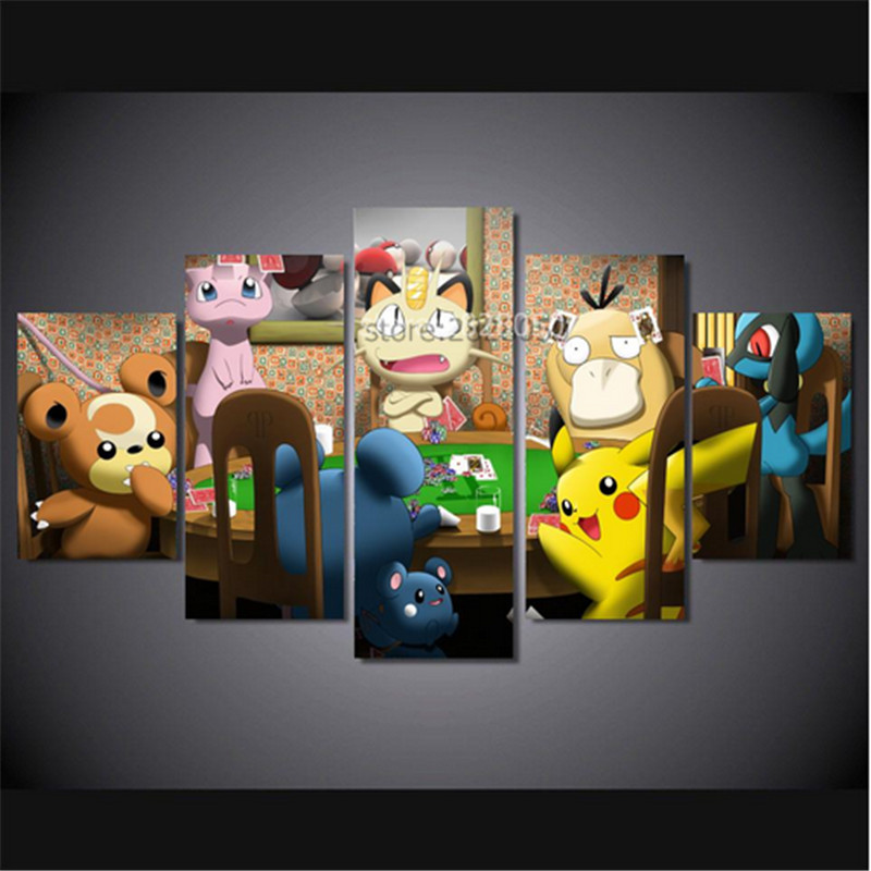 japan anime cute character player poker multi sizes spray paintings unframed irregualr picture cuadros modernos wall