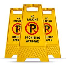 MYSBIKER No Parking Sign, 3 Pack Yellow Sign Stand-Up Floor Signs Readable on Both Sides,with Both English and Spanish цена