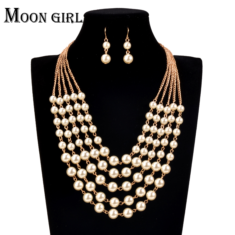 6718476be67 US $5.99 |online shopping india African Beads Jewelry Set Simulated Pearl  chocker Wedding 2016 Fashion statement necklace set for women-in Jewelry ...