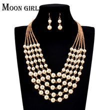 online shopping india African Beads Jewelry Set Simulated Pearl chocker Wedding 2016 Fashion statement necklace set for women(China)