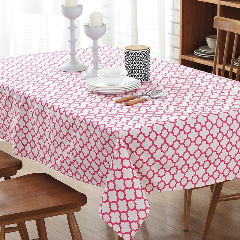 New Fashion Cotton Linen Multi-purpose Tablecloth Red Blue For Restaurant Kitchen Table Home Decor
