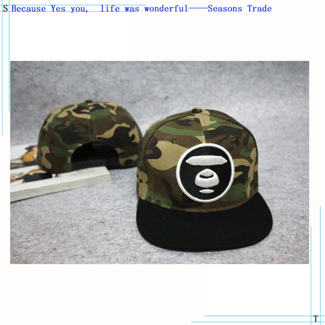 814fefb1c44 2015 Military style Camouflage cap The Korean version BAPE AAPE Ape head  Embroidery Flat-brimmed hat