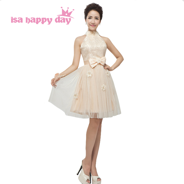 Champagne Girls Lace Tulle Vintage Brides Maids Teens Formal Dresses