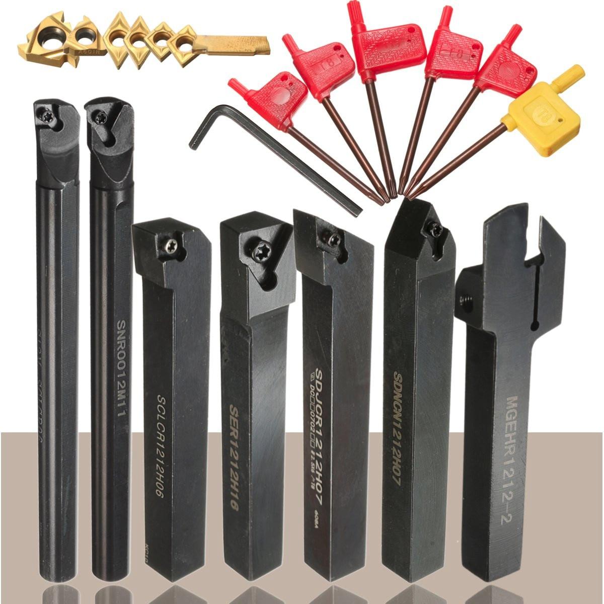 7pcs Turning Tool Holder Set 12mm Shank Lathe Boring Bar With Carbide Inserts + 7pcs Wrenches Tools Set