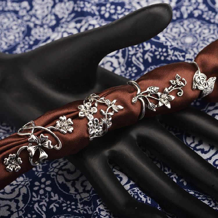 4 ชิ้น Bague Femme เหล้าองุ่นแหวนสำหรับผู้หญิงตุรกีใหญ่ดอกไม้แหวนนิ้วกลางชุด Boho พังก์เครื่องประดับ 2018