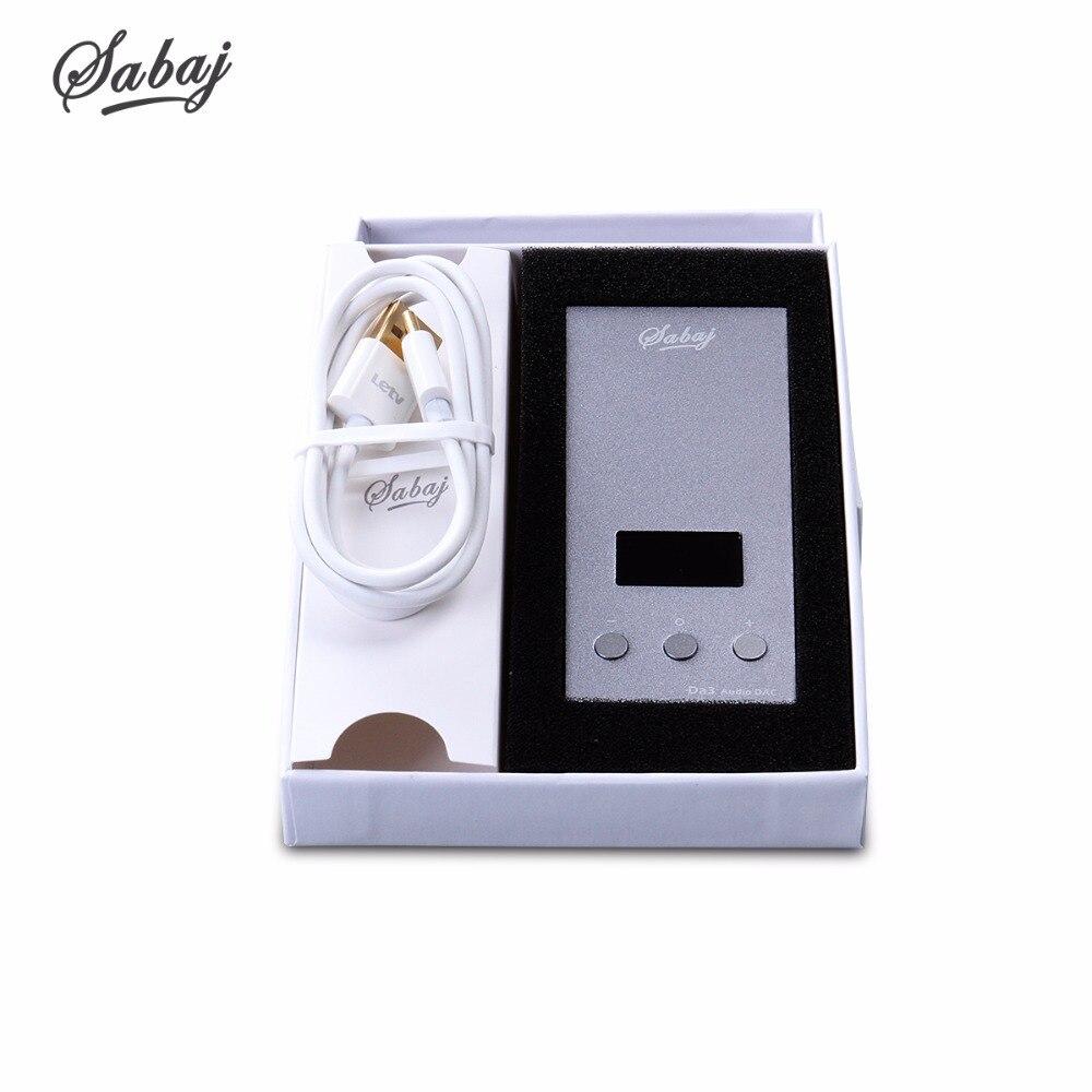 Купить с кэшбэком SABAJ Da3 Tiny DAC/Amplifier Hifi HI-Res Headphone Amplifier Portable USB DAC Screen Balanced Output Native DSD512 32bit/768kHz