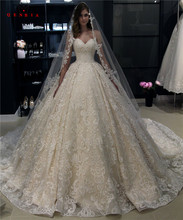Custom Made Ball Gown Sweetheart Fluffy Lace Appliques Luxury Vintage Long Wedding Dresses Bridal Gowns 2020 New WH24