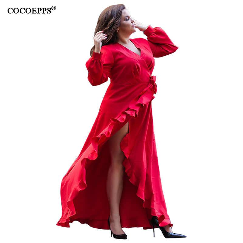 V Neck Slit Lange Kleid 5xl 6xl Plus Größe Frauen Winter Maxi Kleid Große Größe Krawatten Up Sexy Party Kleid vintage Wrap Kleid Vestidos
