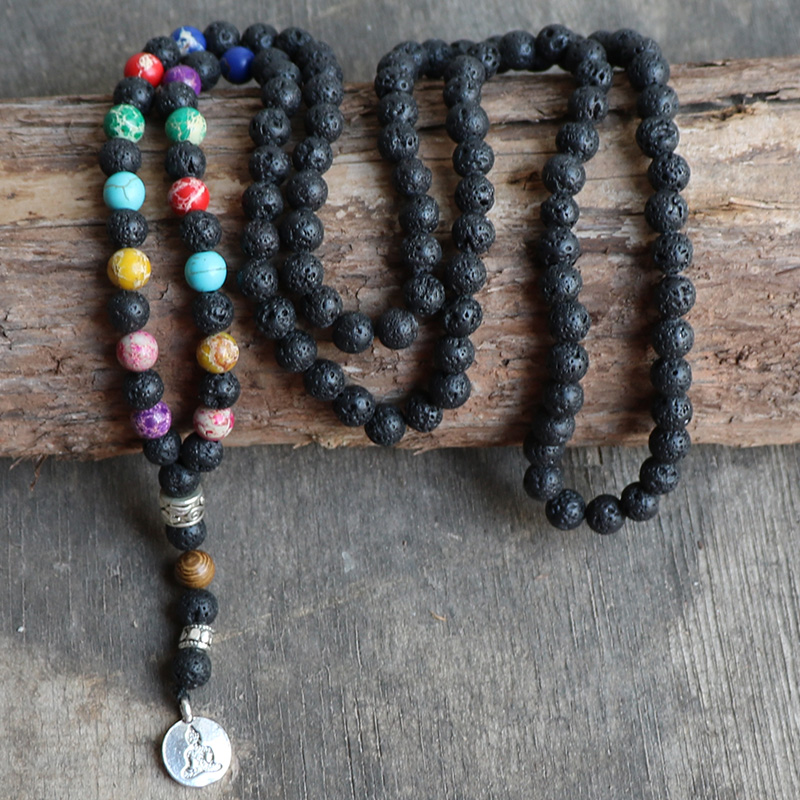 Mala Necklace Black Lava Stone Emperor Stone with Meditation Lotus Buddha Pendant Women 7 Chakra Necklace fish stone lotus area rug