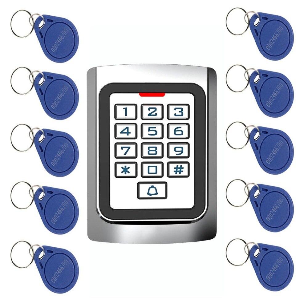 10 шт. rfid-карт + RFID 125 кГц EM карты доступа к двери Управление металлический корпус силиконовой клавиатуры безопасности запись F1331
