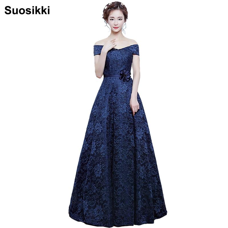 Suosikki A 라인 보트 넥 우아한 레이스 이브닝 드레스 긴 파티 파티 가운 2017 가운 de soiree