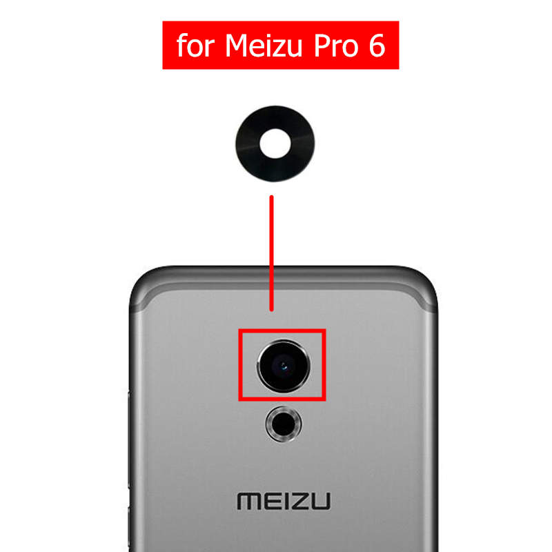 Glass-Lens Camera Back Meizu 2pcs for Pro Rear with Glue 6-Repair-Spare-Parts