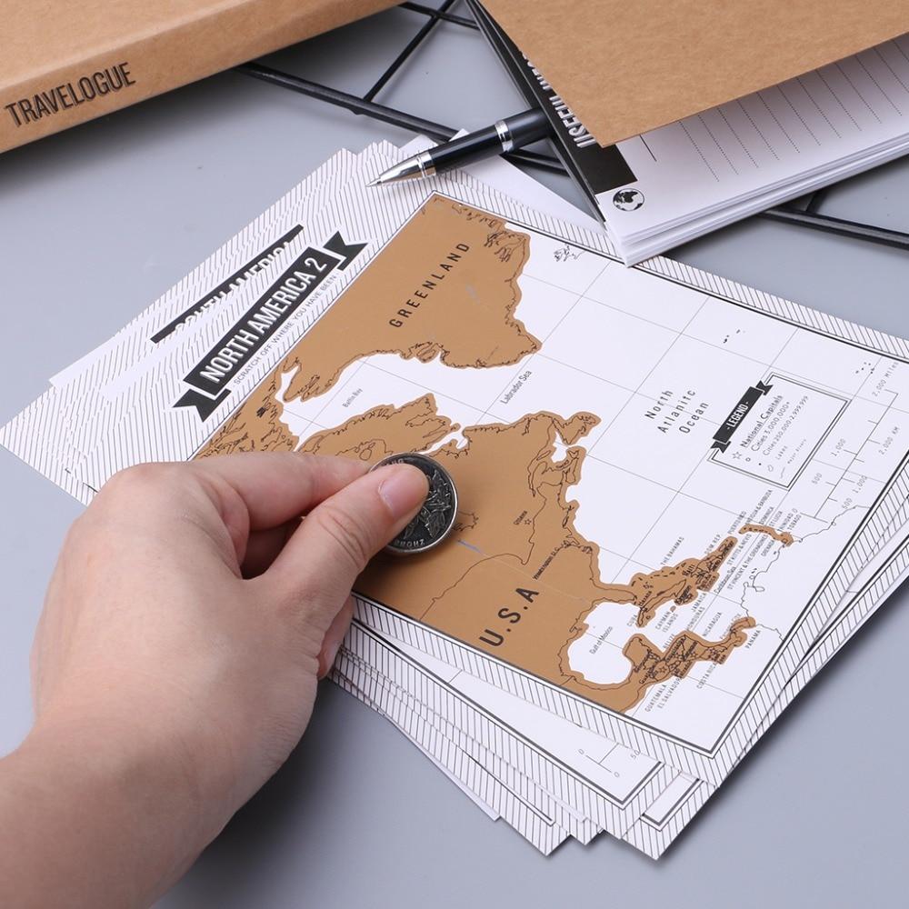 Journal Diary Notebooks Scratch Map Popular Travel City 8 World Maps Travelogue