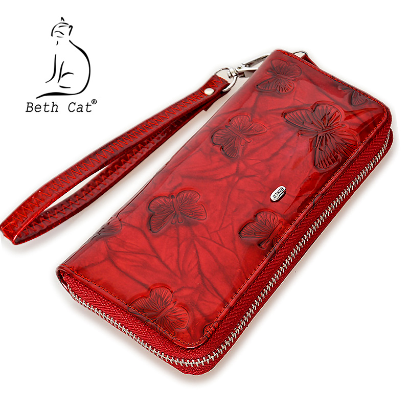 Beth Cat Women Wallet Genuine Leather Butterfly Print Fashion Zipper Long Wallets Clutch Lady Vintage Clutch Bag Coin Purse hot sale women wallets fashion genuine leather women wallet knitting zipper women s wallet long women clutch purse
