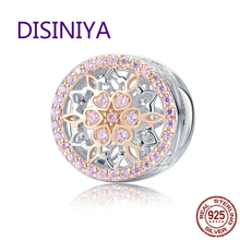 DISINIYA  Genuine 925 Sterling Silver Blooming Buds Clear Cubic Zircon Beads Charms fit Bracelets DIY Jewelry Making SCC923