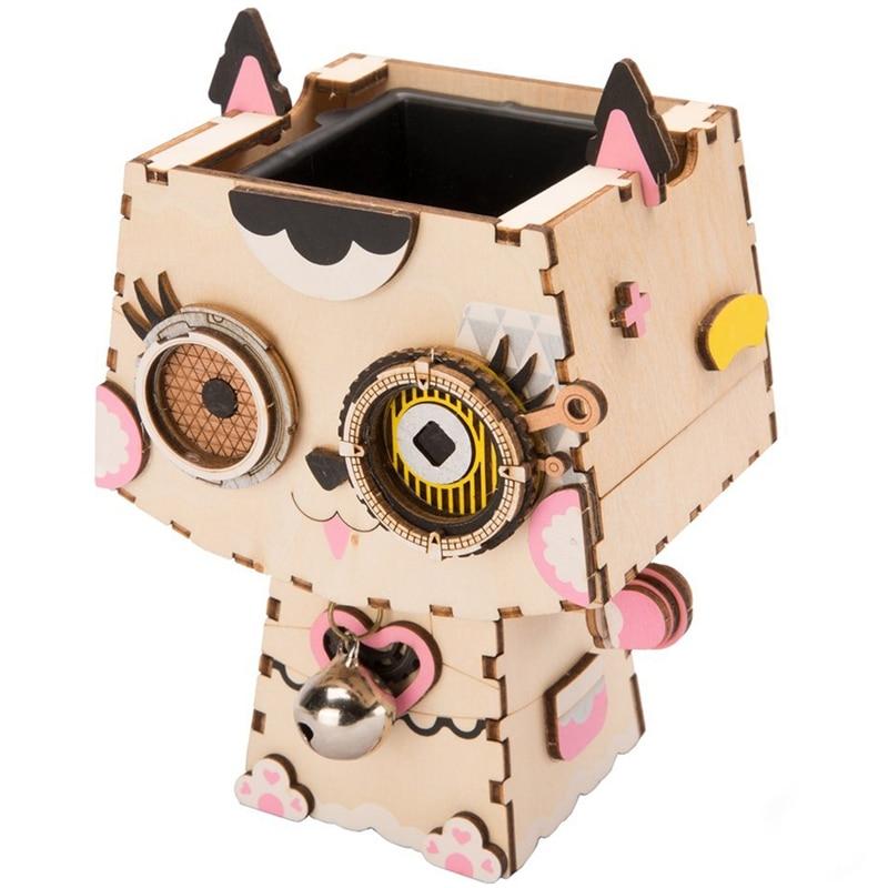 Robotime 3D chaton en bois jeu de Puzzle créatif Pot de fleur boîte de rangement porte-stylo modèle Kit de construction enfants jouets adulte FT73