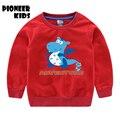 Pioneer niños 2017 nueva primavera ropa al por menor de los muchachos ocasionales niñas dinosaurio de la historieta del muchacho de la camiseta top de manga larga y tee