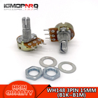 10PCS WH148 potentiometer B1K 2K 5K B10K 20K 50K 100K 250K 500K 1M ohm 3Pin 15mm Shaft With Nut And Washe each 1pcs