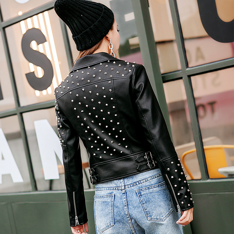 Style Manteau Black Conception retour 2019 Mode Motard Femmes Plein Rivet En red Punk Nouveauté Cuir Veste Faux P6xZqHnw