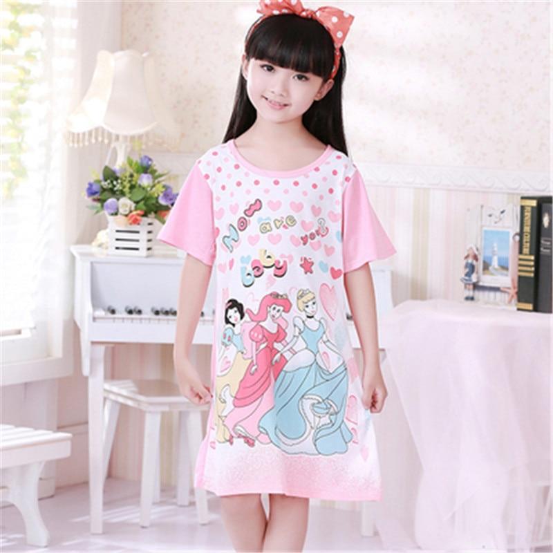 Sleeping Gown: Hot Cartoon Kids Sleepwear Summer Girls Pajamas Nightgowns
