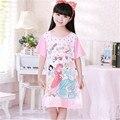 Quente Dos Desenhos Animados Crianças Pijamas de Verão Meninas Pijamas Nightgowns Sleepshirt Nightie Sono de Algodão de Manga Curta Vestido Para 100-150 cm