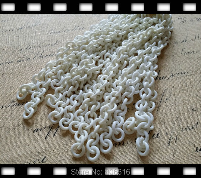 clearance goods !! 13MM/w 9Pcs=3.6m white Plastic O Chain Jewelry Chains Accessories Components
