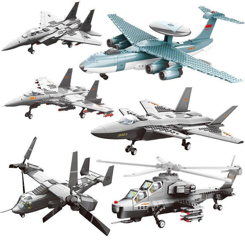 SLPF enfants Puzzle bricolage jouet armé hélicoptère avion combattant militaire modèle Kit assemblé en plastique blocs de construction E06